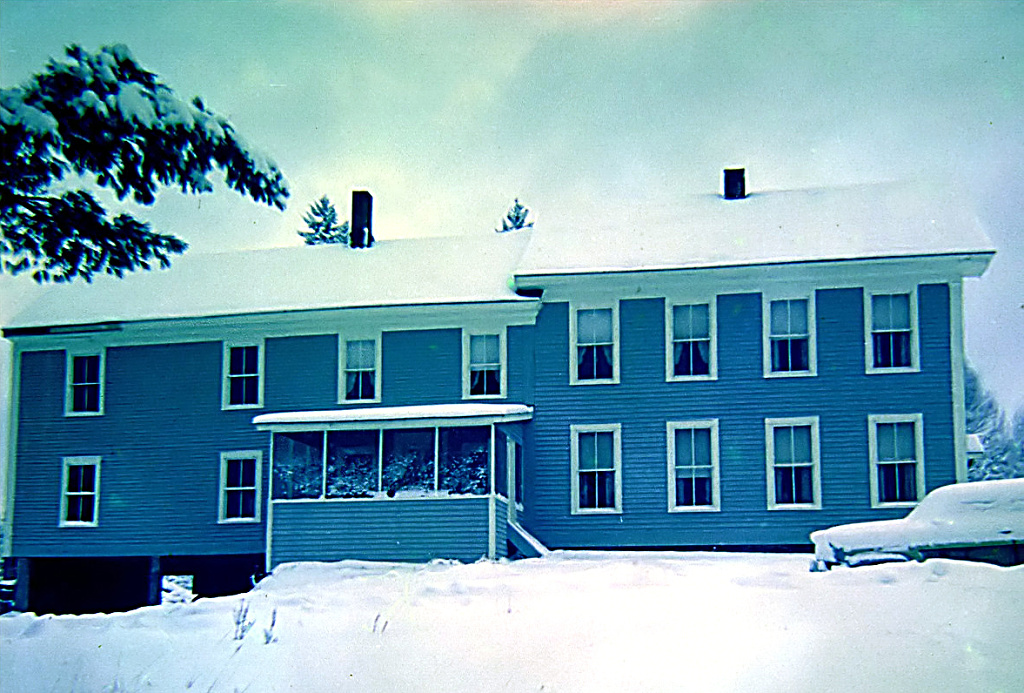The house in the snow.