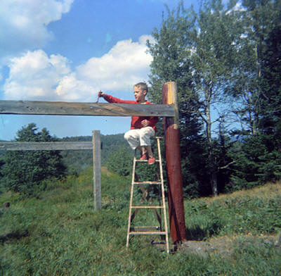 Me painting the clothesline: A bargain for four comic books!