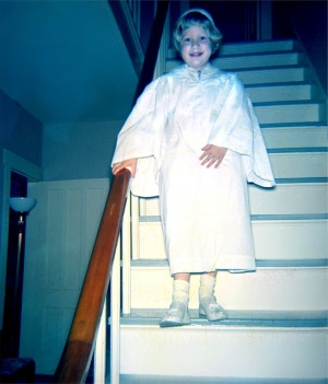 Louise's First Communion gown.