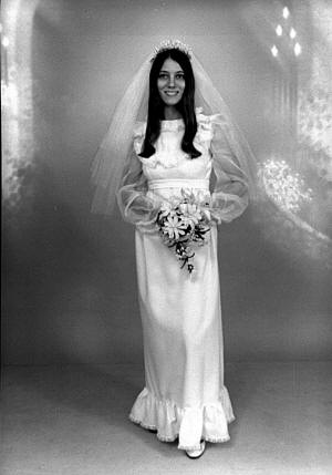 Mary in her wedding gown.