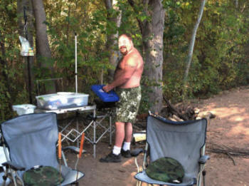 Paul at the camp stove.