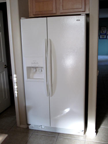 The new refrigerator, installed.