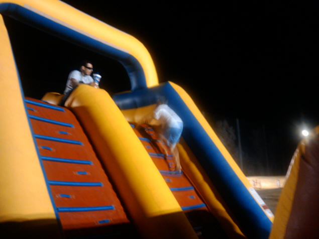 Zach on the bounce castle.