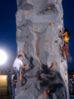 Zach on the rock wall.
