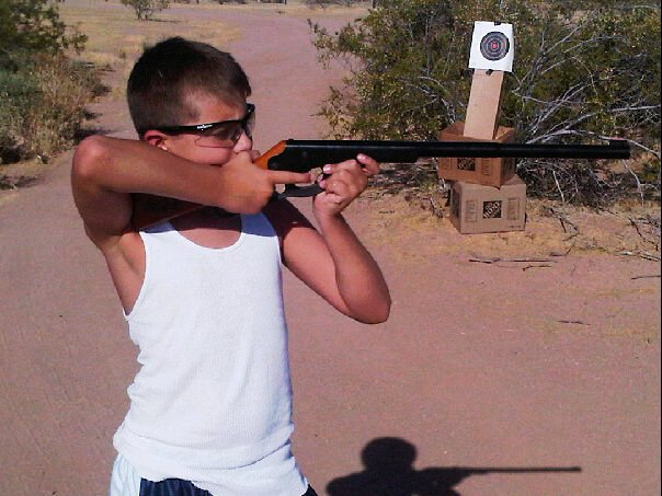 Zach on the firing range: A natural sharpshooter.