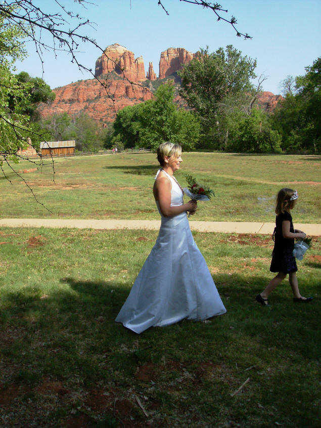 The bridal procession, with Cathedral Rock looking on.