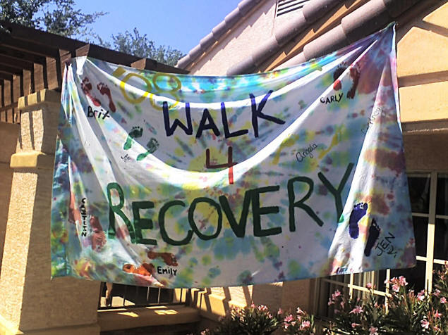 Walk For Recovery: One of the signs made by women currently in the WINR program.