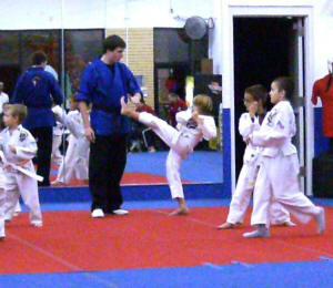 Zach gets a kick out of karate.