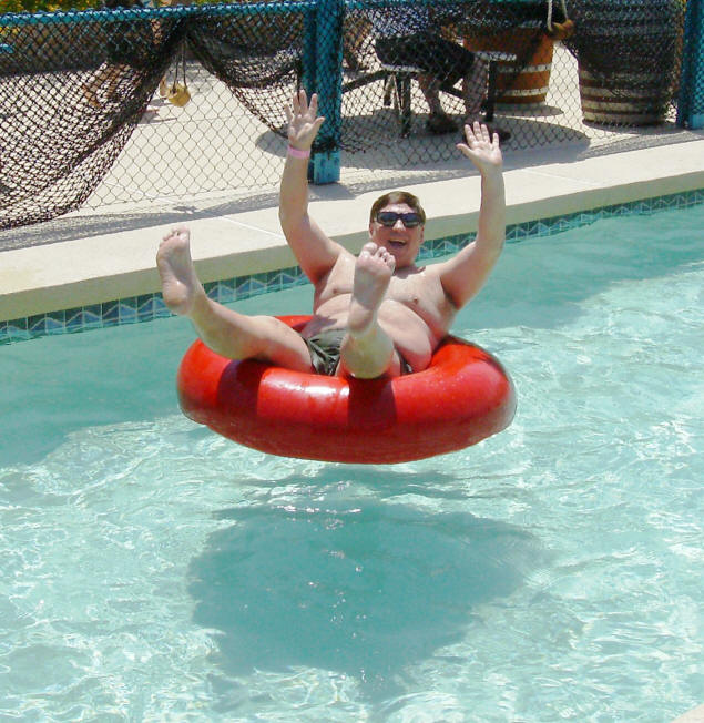 Baby Papa (Michael) floating down the Lazy River.
