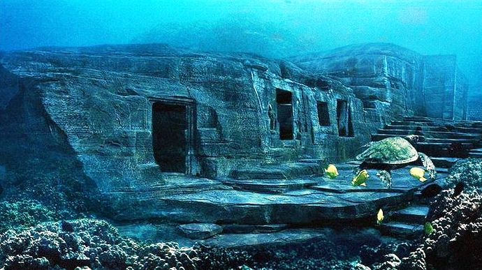 One of the underwater ruins in the Mediterranean Sea.