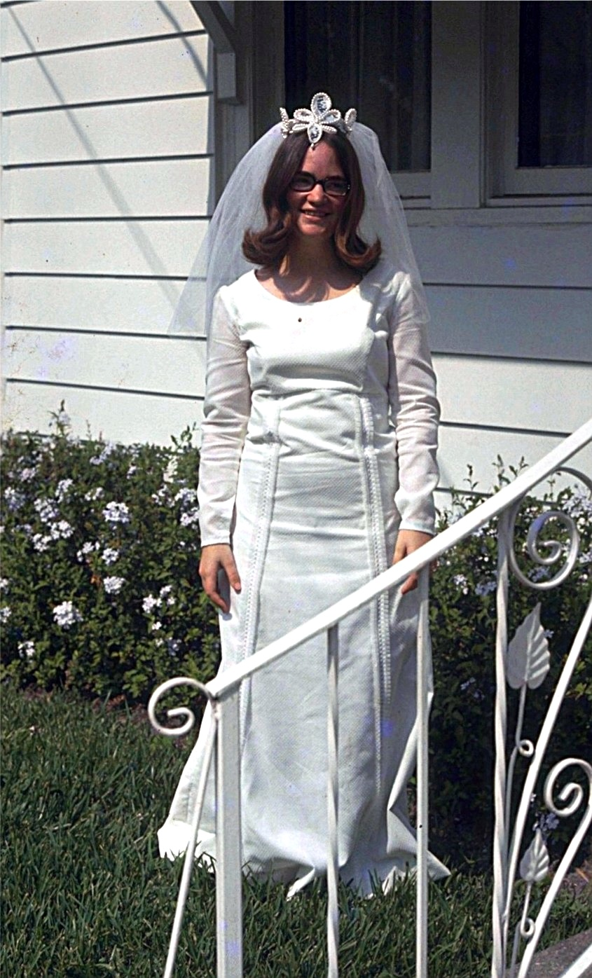 Mary Joan in the beautiful gown she made for herself.