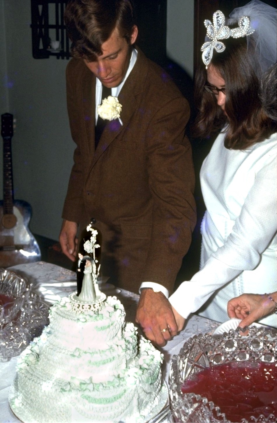 Mary Joan and Greg cutting the cake.